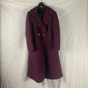 Lodenfrey Dark Red Wool Coat Womens Large